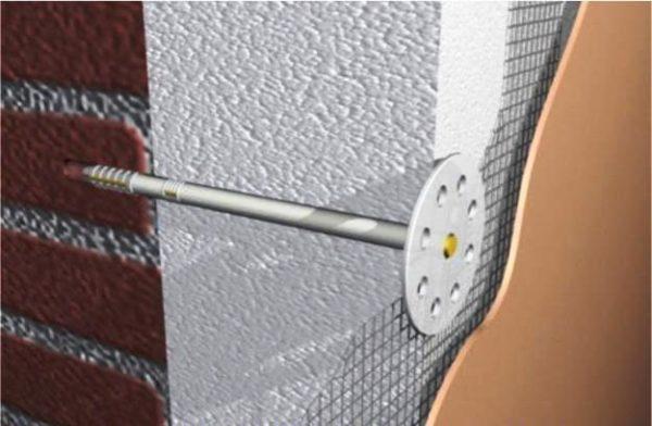Дюбеля фасадные с пластиковым гвоздем используются только с легкими теплоизоляционными материалами