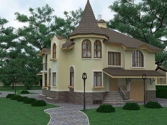 Фото фасада оштукатуренного теплоизоляционным составом Knauf