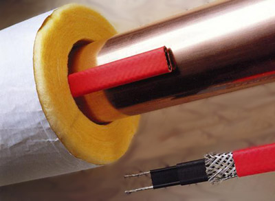 Греющийся кабель с использованием стекловолоконного утеплителя
