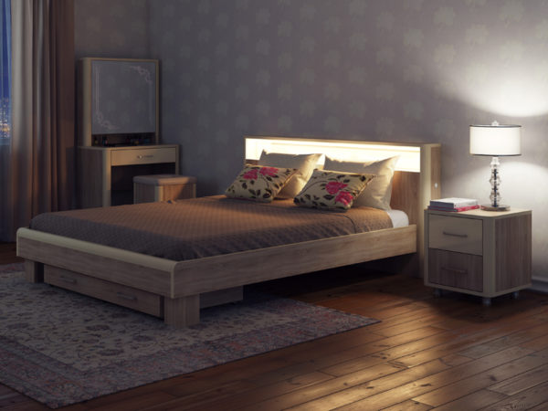 Кровать с подсветкой в комплекте модульной мебели