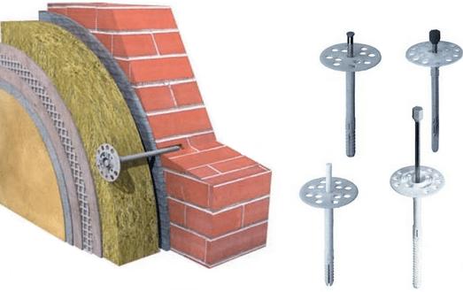 Крепеж для утеплителя к фасаду используется для всех листовых материалов
