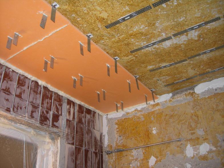 Крепление пеноплекса на потолок сквозь консоли