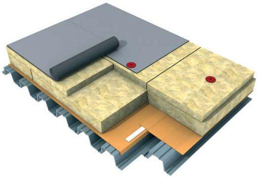 Минералватный теплоизоляционный материал Техноруф используется для утепления плоских и наклонных кровель.