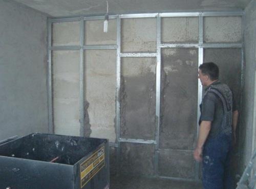 Монтаж каркаса для последующей установки теплоизоляции