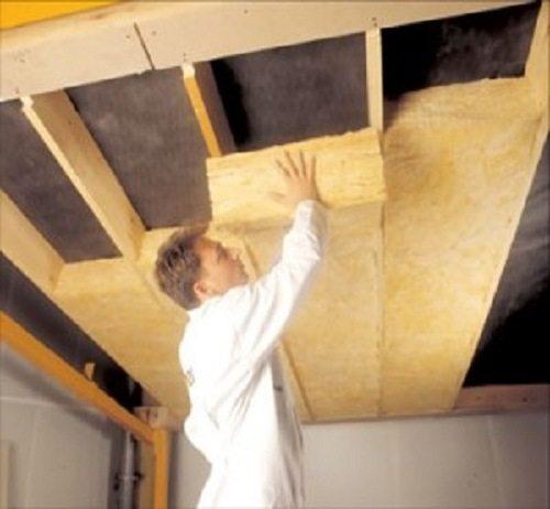 Монтаж минераловатных плит на потолок в обрешётку