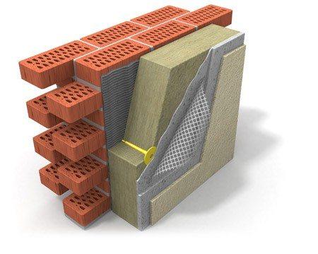 На фото — схема теплоизоляционного фасадного покрытия мокрого типа.
