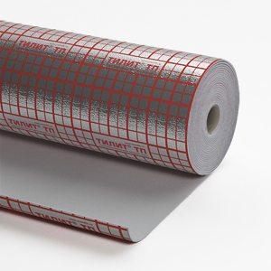 На фото фольгированный утеплитель для пола со специальной разметкой для удобства укладки кабеля.