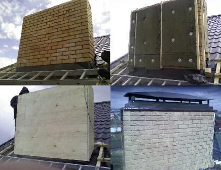 На фото показаны этапы теплоизоляции кирпичного дымохода печей и каминов.