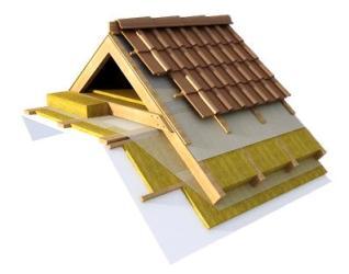 На фото пример использования минваты для утепления скатных крыш