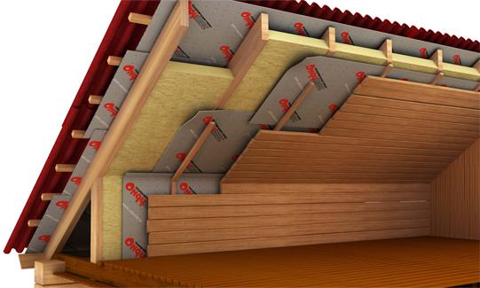 На рисунке показано, как следует правильно утеплять кровлю дома