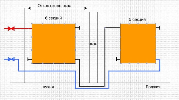 Оптимальная схема подключения одного радиатора на лоджии.
