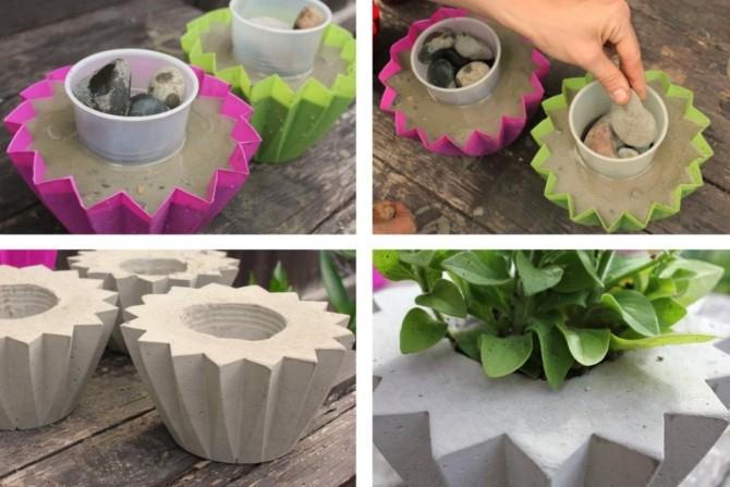 Как сделать уличный вазон для цветов из бетона
