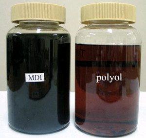 Пенополиуретан получают из полиола и полиизоционата
