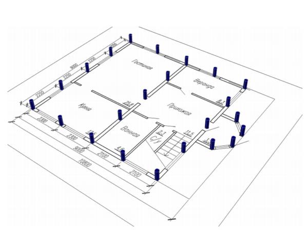 План здания с отметками на месте установки свай