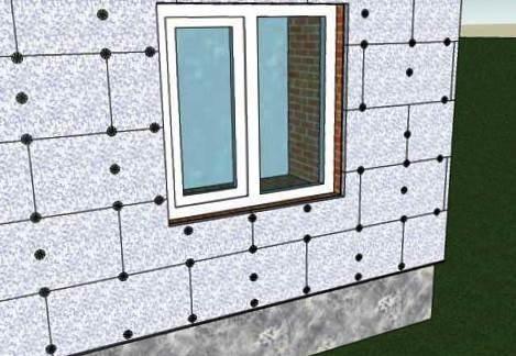 Плиты утеплителя крепятся со смещением вертикальных швов от ряда к ряду.