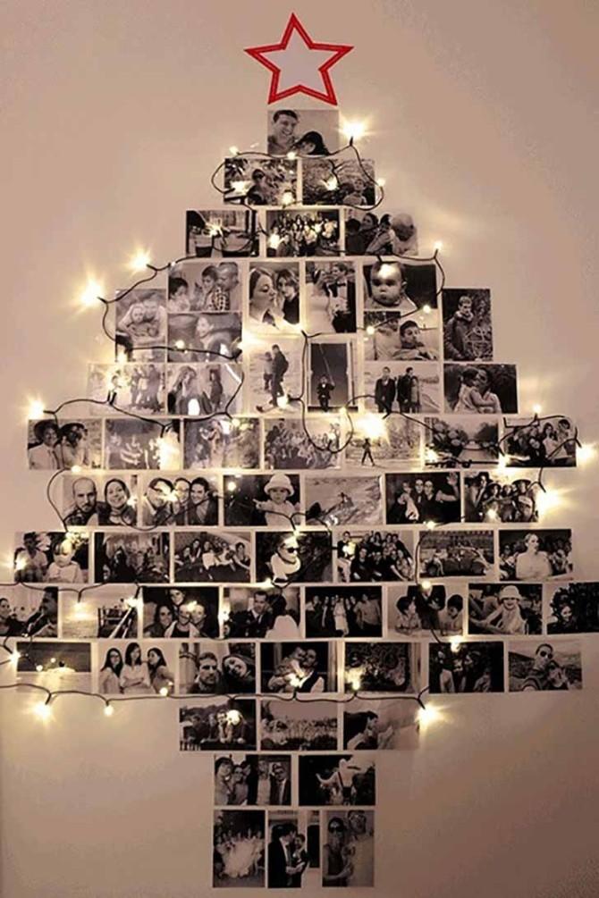 Плоские новогодние елки на стене из фотоснимков
