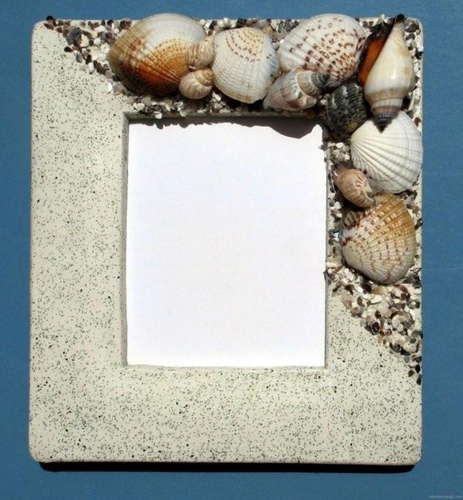 Украшение ракушками фоторамок и зеркал