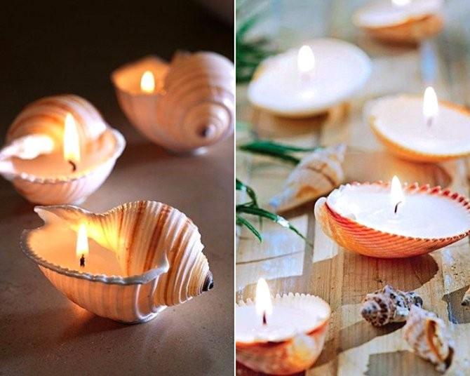 Декоративные свечи из ракушек