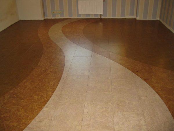 Пример использования пробки как самостоятельного напольного покрытия.