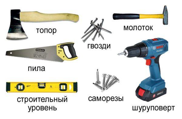 Раз пол будет из дерева, то без набора плотницких инструментов не обойтись