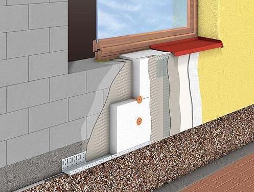 Система мокрый фасад, с применением утеплителя Rockwool