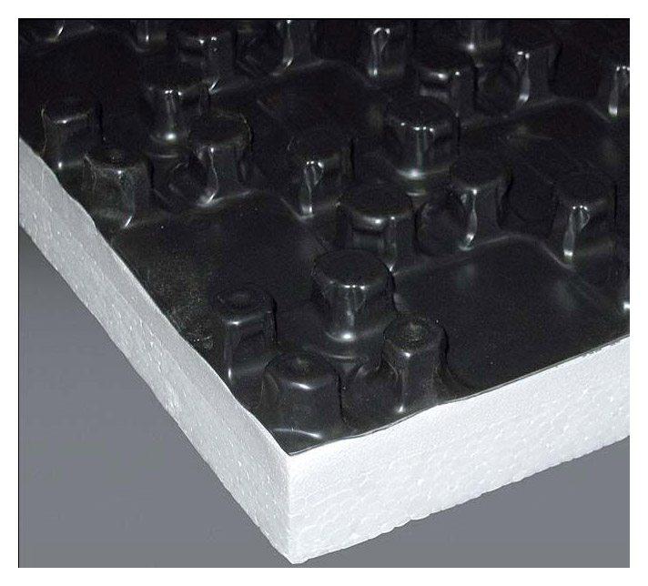 Теплоизоляция под теплый пол из пенополистирола со специальными замками для укладки нагревательных элементов.