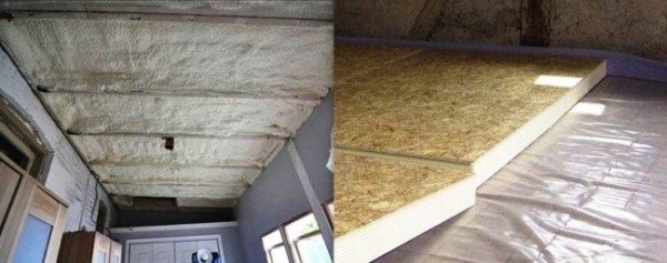 Теплоизоляция изнутри помещения и со стороны чердака пенополистиролом и минеральной ватой