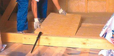 Теплоизоляция потолка при помощи минеральной ваты