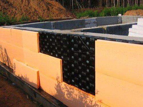 Теплоизоляция всего фундамента при помощи пенополистироловых плит