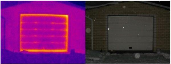 Термограмма наглядно демонстрирует тепловые потери от железных ворот гаража