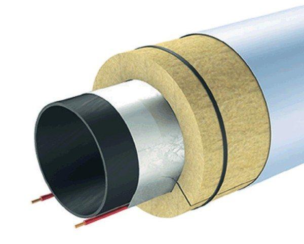 Труба утеплена цилиндром из минеральной ваты
