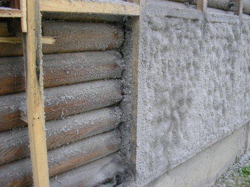 Утепление брусового дома при помощи напыления пенополиуретана