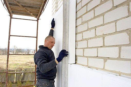 Утепление внешней стены пенопластом