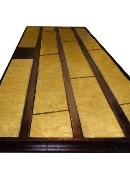 Утеплитель (минеральная вата), уложенный между ребер жесткости – ответ на вопрос, как утеплить входные двери из металла
