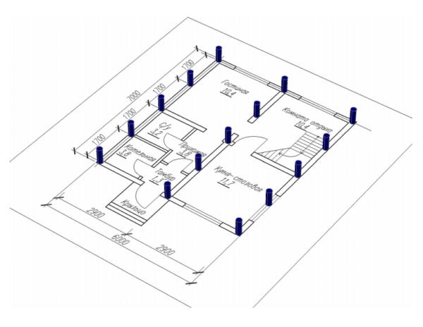 Вариант фундамента с линейным размещением опор