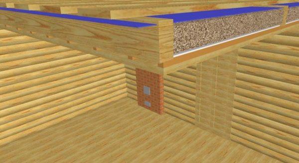 Вот так выглядит утепленный потолок бани в разрезе